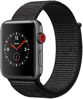 Angled Space Grey Apple Watch Series 3 with Black Sport Loop