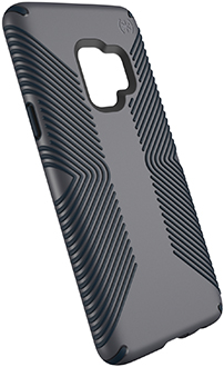 Angled Grey/Black Speck Presidio Grip Galaxy S9 Case