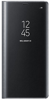 Black Samsung Note8 Clear View Standing Cover Front View