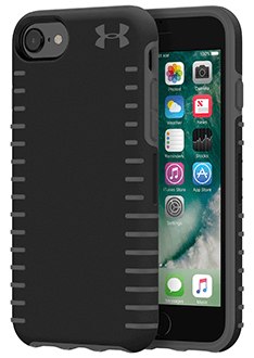 Black/Grey Under Armour Protect Grip - iPhone 6/6s/7/8 Case Angled View