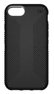 Black/Black Speck Presidio Grip - Apple iPhone 6/6s/7/8 Case Back View