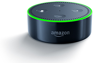 Black Amazon Echo Dot with Lights Front View
