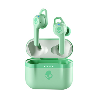 Pure Mint Skullcandy Indy Evo True Wireless Earbuds above case front view