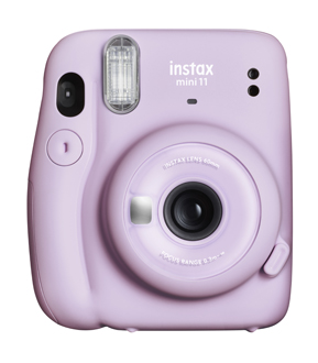 FUJIFILM Instax® Mini 11 camera from the front in Lilac Purple