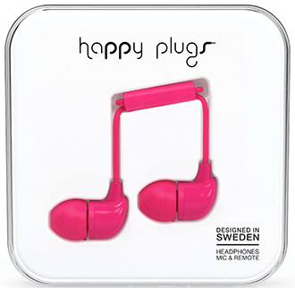Cerise Happy Plugs In-Ear Headphones in Packaging