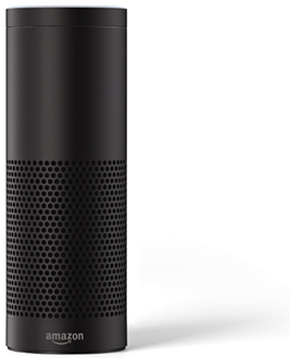 Black Amazon Echo Plus Side View