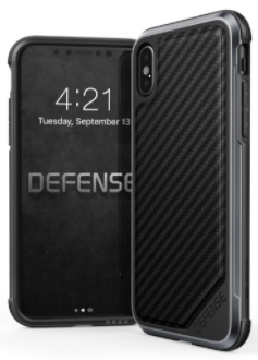 Carbon Fibre X-Doria Defence Lux iPhone X Case Front and Back View