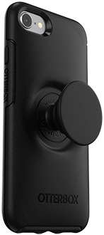 Angled Black Otter + Pop Symmetry iPhone 7/8 Case with PopTop Extended
