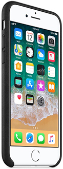 Black Apple Leather iPhone 7/8 Case Angled Front View