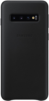 Black Samsung Galaxy S10 Leather Cover Back