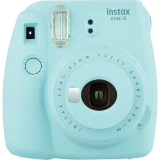 Appareil photo Instax Mini 9 bleu glacé, photo en impression, vue frontale
