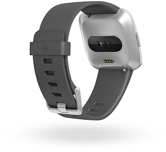 Angled Charcoal Fitbit Versa Lite Watch Back