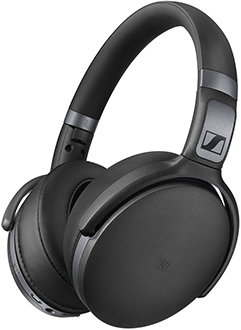 Black Sennheiser HD 4.4 BT Headphones Angled Front View