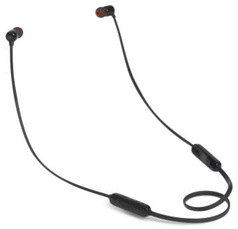 Black T110 Wireless In-Ear Headphones Front View