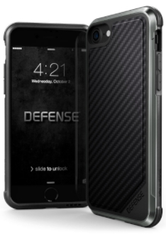 Carbon Fibre X-Doria Defence Lux iPhone 7/8 Case Front and Back View
