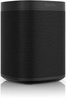 Black Sonos One Smart Speaker Angled View