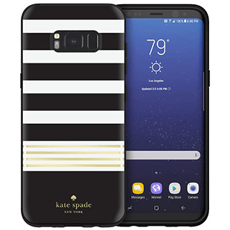 Black/Cream Striped Kate Spade Galaxy S8 Plus Hardshell Case Front and Back View