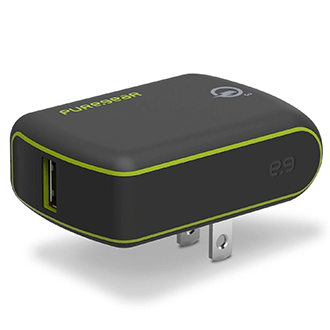 Black PureGear Extreme Wall Charger with Qualcomm Quick Charge 3.0 - Front View