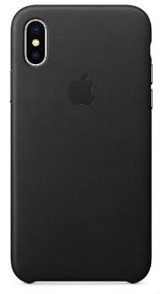 Black Apple Leather iPhone X Case Back View