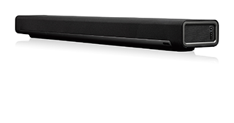 Black Sonos PLAYBAR Speaker Angled Front View