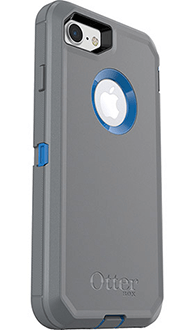Cowabunga Blue/Gunmetal Grey Otterbox iPhone 7 Defender Case Angled Back View