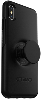 Angled Black Otter + Pop Symmetry iPhone Xs Max Case with PopTop Extended