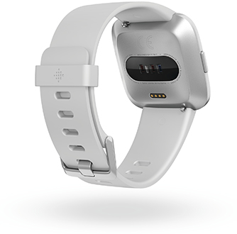 Angled White Fitbit Versa Lite Watch Back