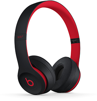 Angled Defiant Black-Red Solo3 Headphones