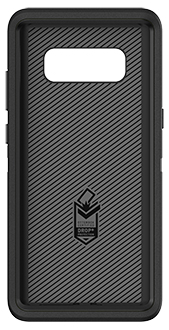 Black Otterbox Galaxy Note8 Defender Case Front View