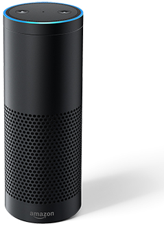 Vue avant de l'Amazon Echo Plus – noir
