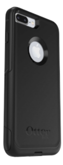 Black Otterbox iPhone 8 Plus Commuter Case Angled Back View