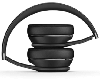 Black Beats Solo3 Headphones with Ear Pieces Folded in