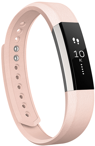 Blush Pink Fitbit Alta Leather Band Angled View