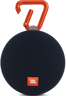 Black JBL Clip 2 Speaker Front View With Clip Open