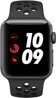 Space Grey 42mm Apple Watch Nike+ with Anthracite/Black Band Front View