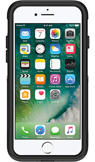 Black Otterbox iPhone 7 Commuter Case Front View