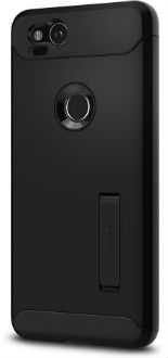 Black Spigen Slim Armor - Apple Pixel 2 Case Back View