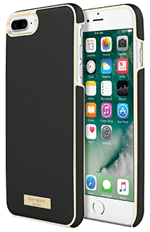 Black Saffiano kate spade Inlay Wrap - iPhone 7 Plus/8 Plus Case Angled View