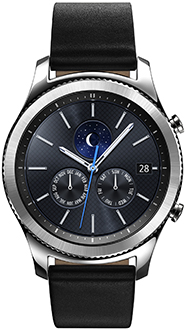 Black Samsung Gear S3 Classic Smartwatch Front View