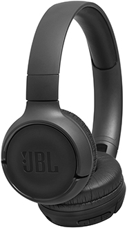 Angled black JBL TUNE 500BT headphones side