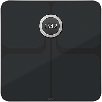 Black Fitbit Aria 2 Wi-Fi Smart Scale Top Down View