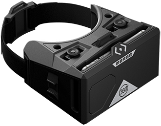 Moon Grey Merge VR 360 Goggles Angled Top Down View