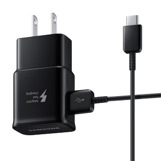 Samsung Fast Charge Wall Adapter with USB-C Cable beside