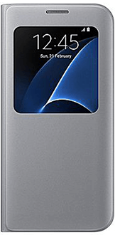 Silver Samsung S View Cover - Galaxy S7 Front View