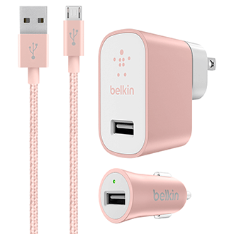 USB - Rose Gold Belkin MIXIT Metallic Wall and Car Charger Kit with USB Cable - Front View