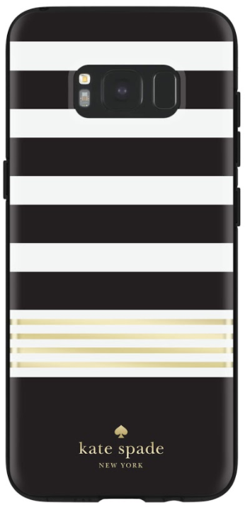 Black/Cream Striped Kate Spade Galaxy S8 Hardshell Case Back View