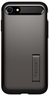 Gunmetal Spigen Slim Armor - Apple iPhone 6/6S/7/8/SE Case Angled View