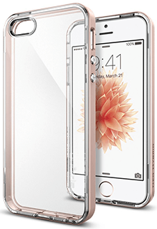 Rose Gold Spigen Neo Hybrid Crystal - Apple iPhone 5/5S/SE Case Front View