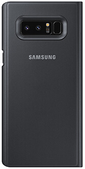 Black Samsung Note8 Clear View Standing Cover Back View