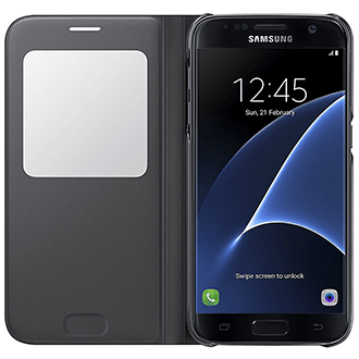 Black Samsung S View Cover - Galaxy S7